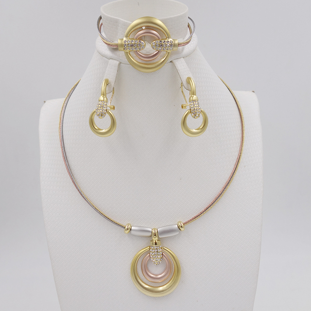 Crystal Anchors Jewelry Sets Fine African Beads Necklace Bangle Earring Rings Set Wedding Gold Plated Bridal Accessories