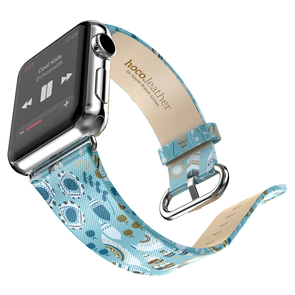 YCYS-HOCO Leather Strap Classic Buckle Watch Band Adapter For Apple Watch 42MM Blue сонник