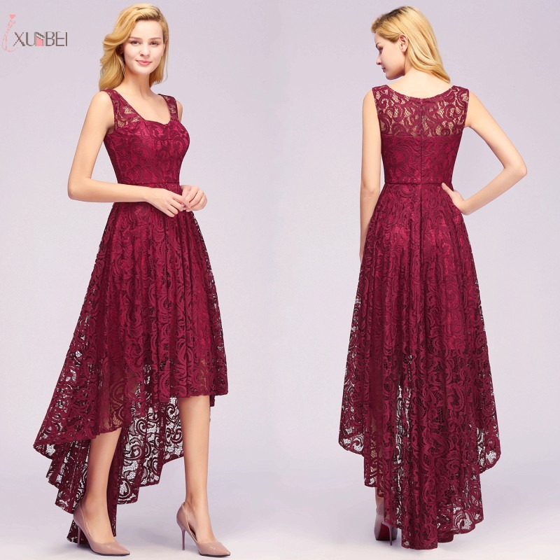 2019 Burgundy Lace Short   Evening     Dress   High Low Sleeveless   Evening   Gown robe de soiree