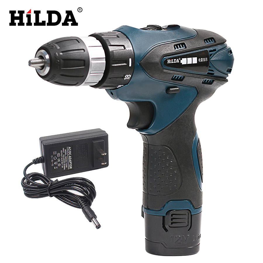 цена на HILDA 12V Cordless Drill Electric Drill Electric Screwdriver Rechargeable Lithium Double Speed Multi-function Power Tools