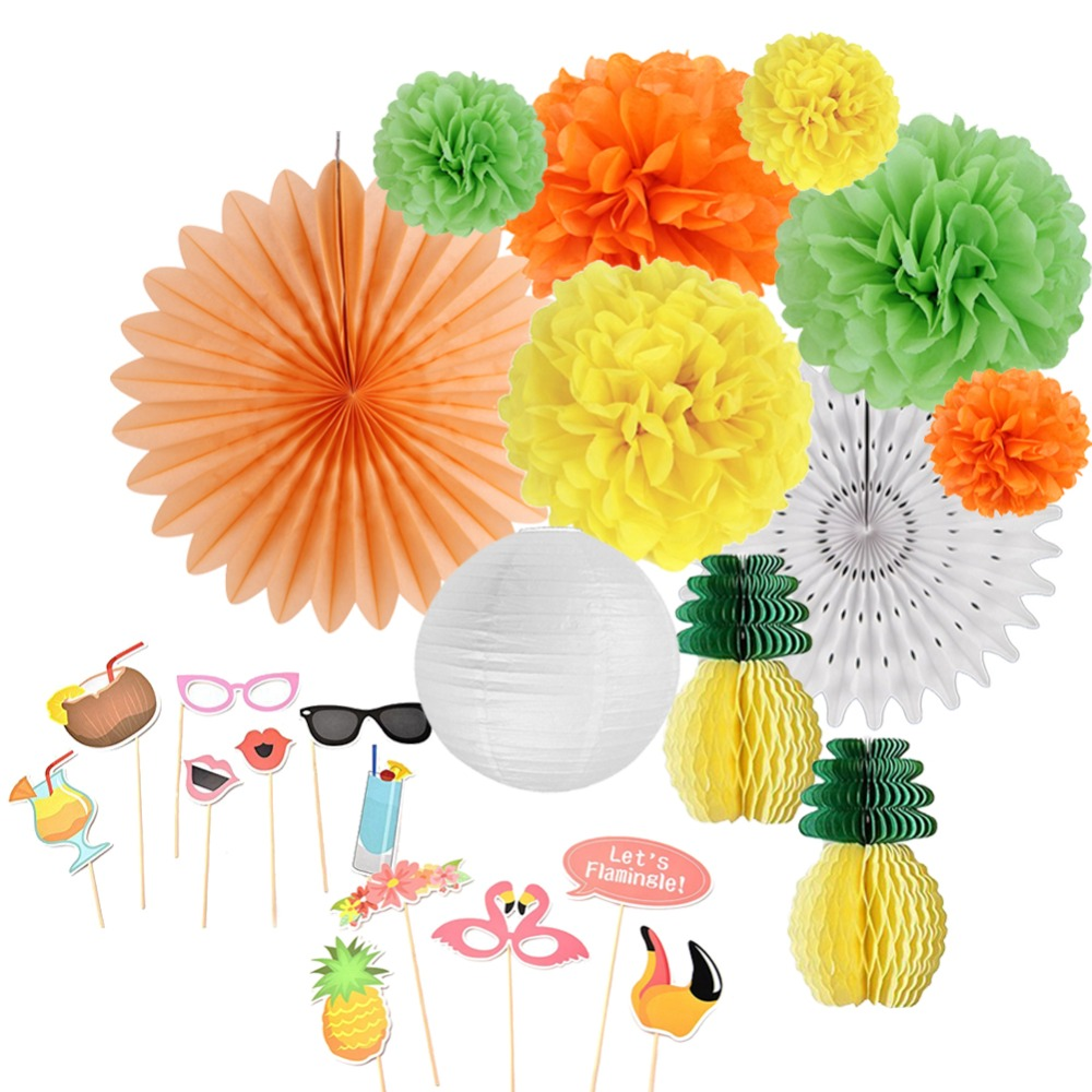 12pcs/set Summer Party Decorations  Beach Pineapple Flamingo Photo Props Luau Decor