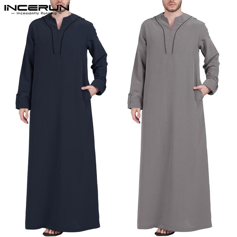 INCERUN Arabic Islamic Kaftan Men Muslim Clothing Loose Long Sleeve V Neck Men Robes Dubai Saudi Arabia Abaya Jubba Thobe 2019