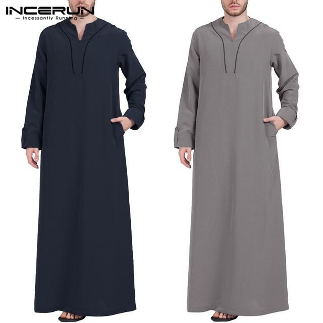 INCERUN, caftán islámico árabe, ropa musulmana para hombres, Túnica holgada de manga larga con cuello en V para hombres, Túnica Abaya Jubba Thobe de Arabia Saudita 2020