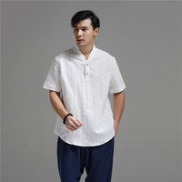 2017 Summer Shirt Men Blouse Flax Blusas Traditional Chinese Clothing Short Sleeve Linen Tops Ethnic Blusas