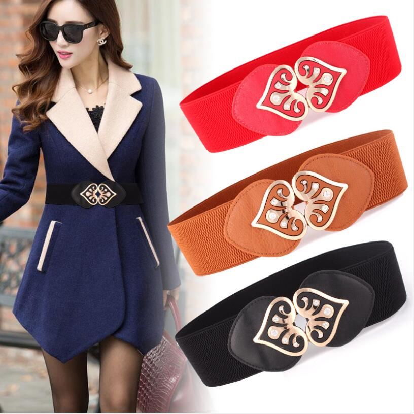 Fashionable Casual Women's Cummerbund All-match Elastic Alloy Double C Wide Belt One-piece Dress Decoration