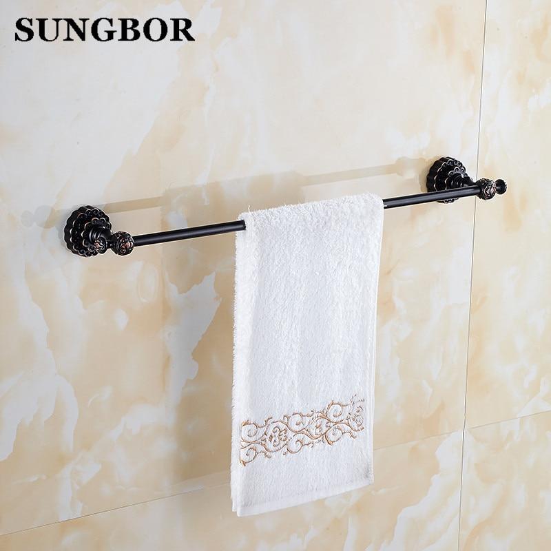 Twin Flowers Series Carving Black Brass Wall Mounted Bathroom Accessories Single Towel Bar Towel Rack Towel Shelf Toilet Vanity