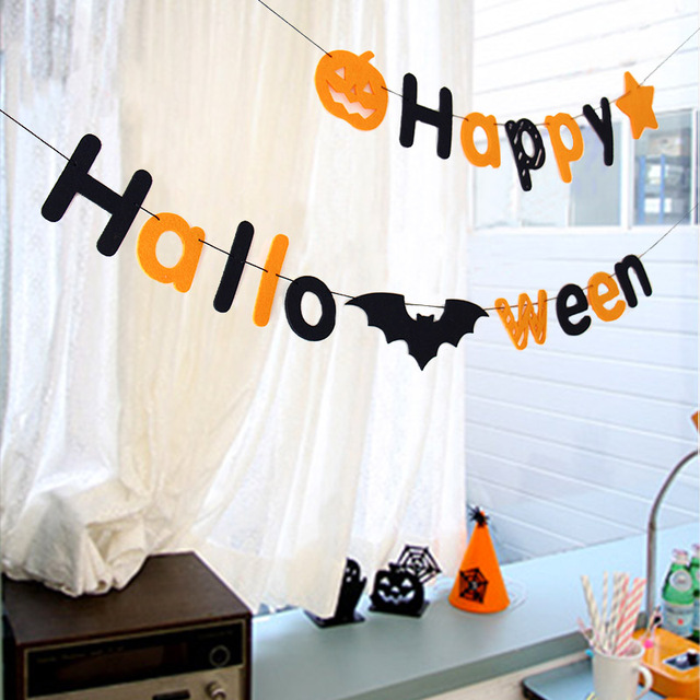 New Banner Decorations Strings Pumpkins Bat Pattern Flags Garland Home Party Diy Decorative