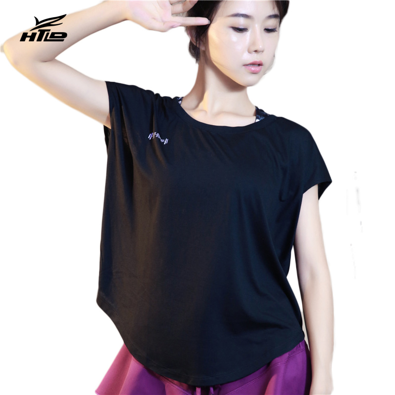 HTLD Ginásio Esporte Mulheres Camisetas Soltas Esporte camisetas Coletes À  Prova de Manga Curta Yoga aptidão Macio Tops Execução Exercício Barbell  camisas e290bbd089c04