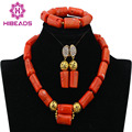 Últimas Coral Perlas Africanas Joyería Conjunto Indio Nigeriano Boda Perlas Nupcial Collar Sistema de La Joyería Al Por Mayor Envío Libre CJ561