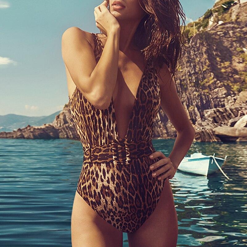 Leopard Snake print bikini women push up Monokini string V-neck swimsuit one piece swimwear