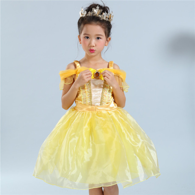 70920b84a13 Shoulderless Yellow Belle Princess Dress Costume Summer Sleeveless Girl  Party Performance Belle Cosplay Dresses for Girls