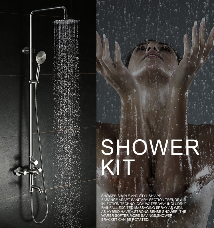 Bathroom Shower Set 304 stainless steel Brass Chrome 8 Wall Mounted Shower Faucet with Shower Head Water Saving Nozzle Aerator