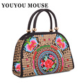 YOUYOU MOUSE Fashion National Wind Handbags Women Flower Embroidered Handbags Lady Shoulder Bag Embroidery Canvas Handbag
