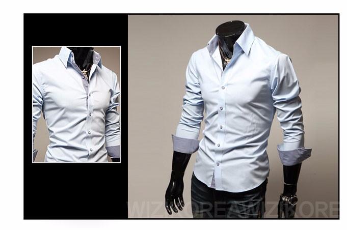 Mens Casual Shirts 2016 Hot Sale Mens Slim Fit Dress Long Sleeve Shirts Soild Male Social Shirts Designer Chemise Homme 3XL 25 12