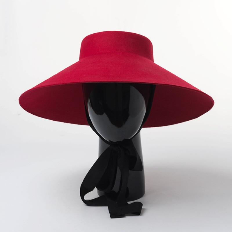 Women Fall Winter New Style Shallow top Big Wide Brim Wool Felt Fedoras Hat Large Black