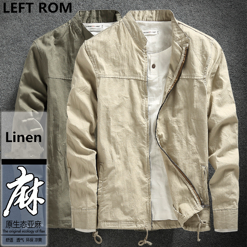LEFT ROM 2018 fashion male fall slim Fit high-grade Linen jackets/men's Stand collar pure color Leisure linen coat S-XXXL