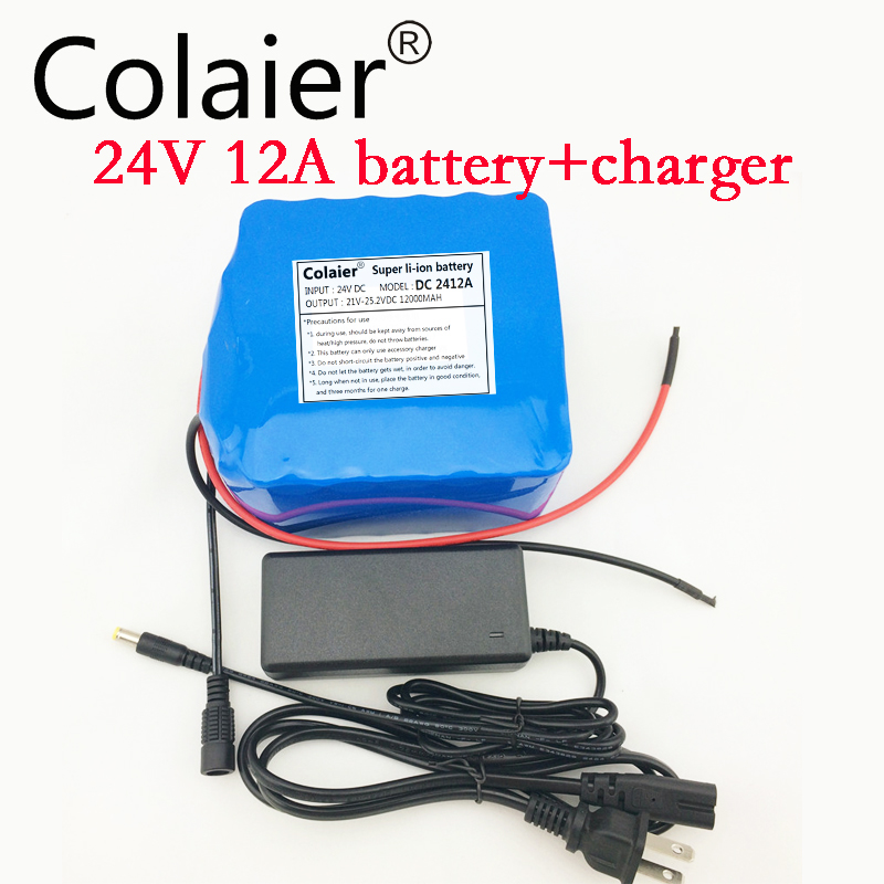 Colaier 24V 12Ah veh culos El ctricos ion Battery Pack Reserva 18650 Lithium Portable de la energ a PCB 24 V(25.2 V)2A cargador free customs taxes super power 1000w 48v li ion battery pack with 30a bms 48v 15ah lithium battery pack for panasonic cell