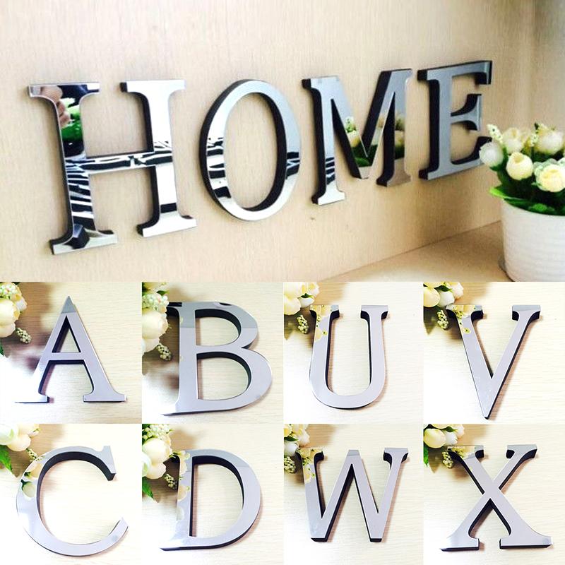 moda unid populares letras d acrlico espejo de pared pegatinas decoracin para el hogar
