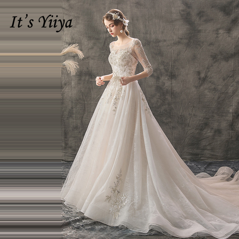 It's YiiYa Wedding Dress Bling Sequins Lace Embroidery Train Bridal Gowns O-neck Half Sleeve Flowers Long Wedding Dresses G020