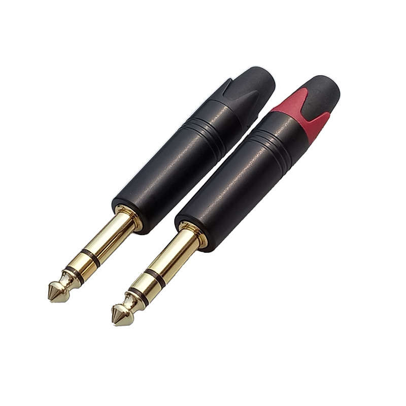 10pcs/lot 6.35mm 3 Pole Stereo Male Plug Aluminum Tube Gold Plated 1/4 Inch Microphone Plug Audio 6.35MM Cable Wire Connector