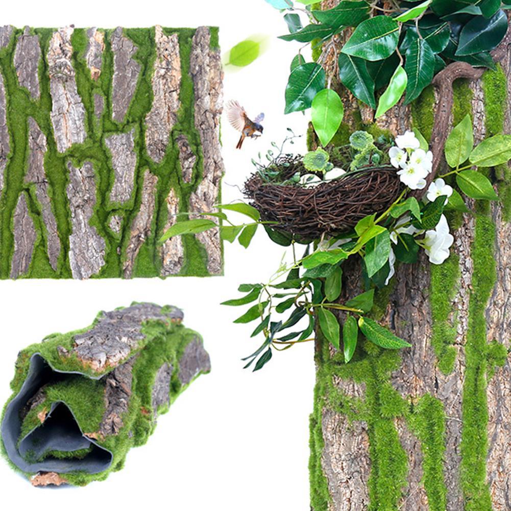 30x50 cm Echt Getrocknete Kiefer Rinde mit Künstliche Moos für Innen Wasser Rohr Säule Abdeckung Wrap Gefälschte pflanzen Reben Blumen DIY Decor