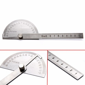 Image 2 - 1pc 180 Degree Adjustable Protractor Angle Finder Angle Ruler Round Head Rotary Stainless Steel Measuring Tool for Woodworking