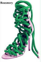 Summer New Fashion Women Lace-up Rope Design High Heel Sandals A Lots Color Strap Cross Gladiator Sandals Dress Shoes