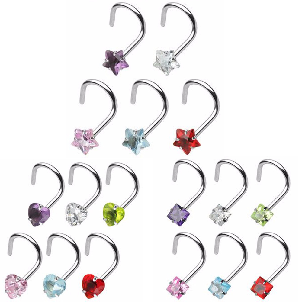 Piercing Nose Studs Screw-Rings Prong-Set Body-Jewelry Square Heart 20g Star 1pcs Zircon