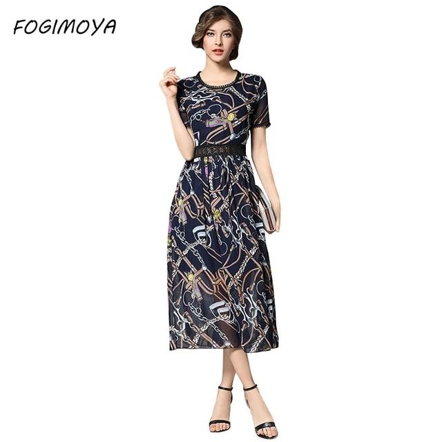 Fogimoya платье женские летние Мода 2017 шифона с принтом длинное платье женские Короткие рукава Лоскутная выдалбливают шифоновое платье с принтом
