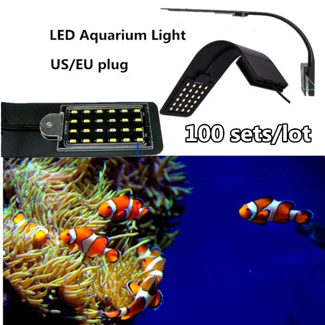 100 CONJUNTOS de Iluminação Brilhante super CONDUZIU a Luz Do Aquário 10 W Aquático Clip on Lâmpada Lâmpadas À Prova D' Água Para Os Tanques de poupança de Energia EUA/plug UE
