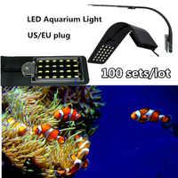 100 ensembles super lumineux éclairage de lumière LED d'aquarium 10 W lampes aquatiques Clip étanche sur la lampe pour les réservoirs d'économie d'énergie prise US/EU