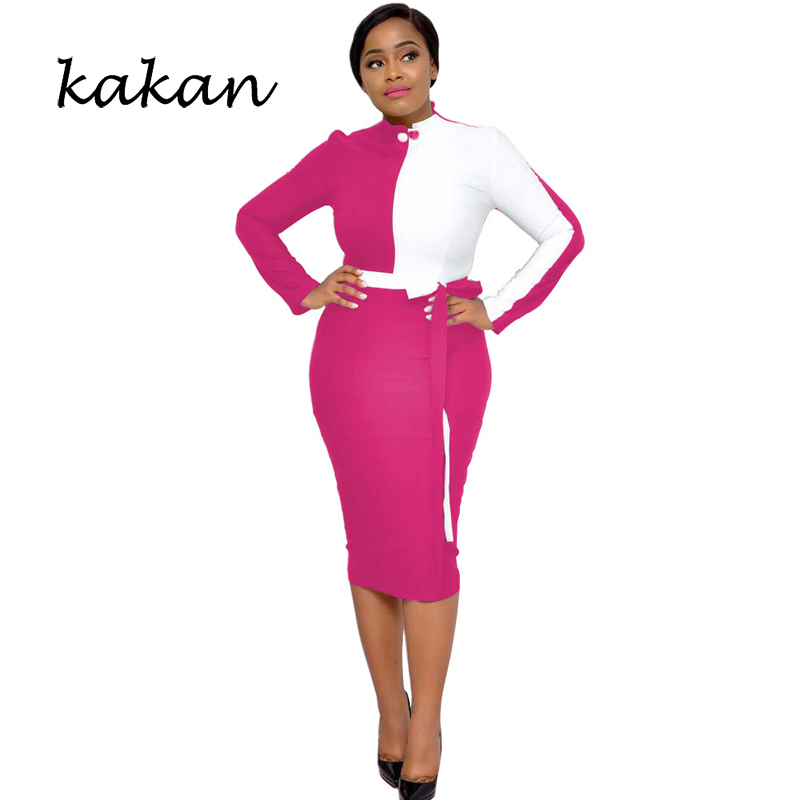 Kakan 2019 spring new women 39 s dress fashion stitching strap zipper long sleeved dress black blue rose red dress in Dresses from Women 39 s Clothing