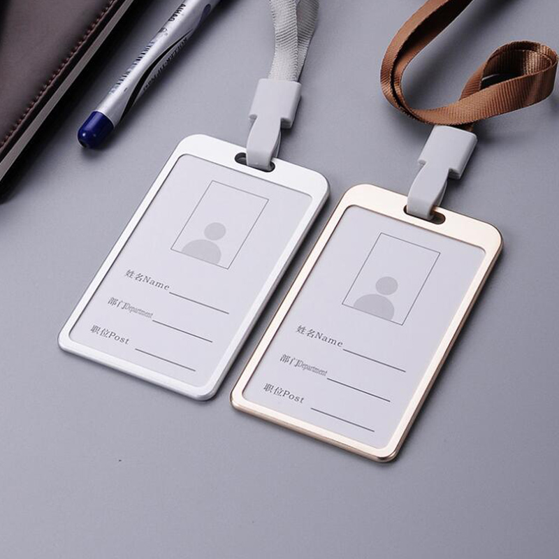 5 PCS/lot Vertical Style Metal ID Badge Holder Name Window Card Holders With Neck Lanyard String Logo Custom Office Supplies middle clerk working id card holder exhibition identification card cover tag aluminium alloy metal staff badge for colleagues