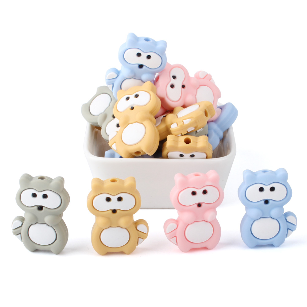 10pcs Silicon Mini Raccoon Beads 31mm Rodent Silicone Teething Beads Accessories Silicone Rodent DIY Pacifier Chain Pendant