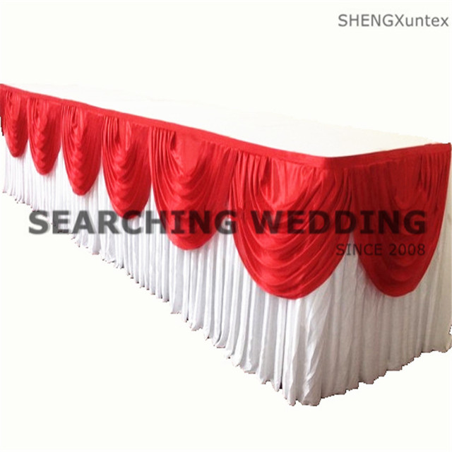 Wholesale Price Ice Silk Table Skirt Table Cloth Skirting With Swag