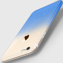 New Cute Gradient transparent Phone Case for iPhone 6 6s 7 Plus 5 5S SE Ultra Thin TPU Clear Soft Silicone 8 S Back Cover Coque