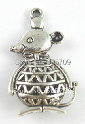 54 шт тибетский серебряный милый мышонок а15585