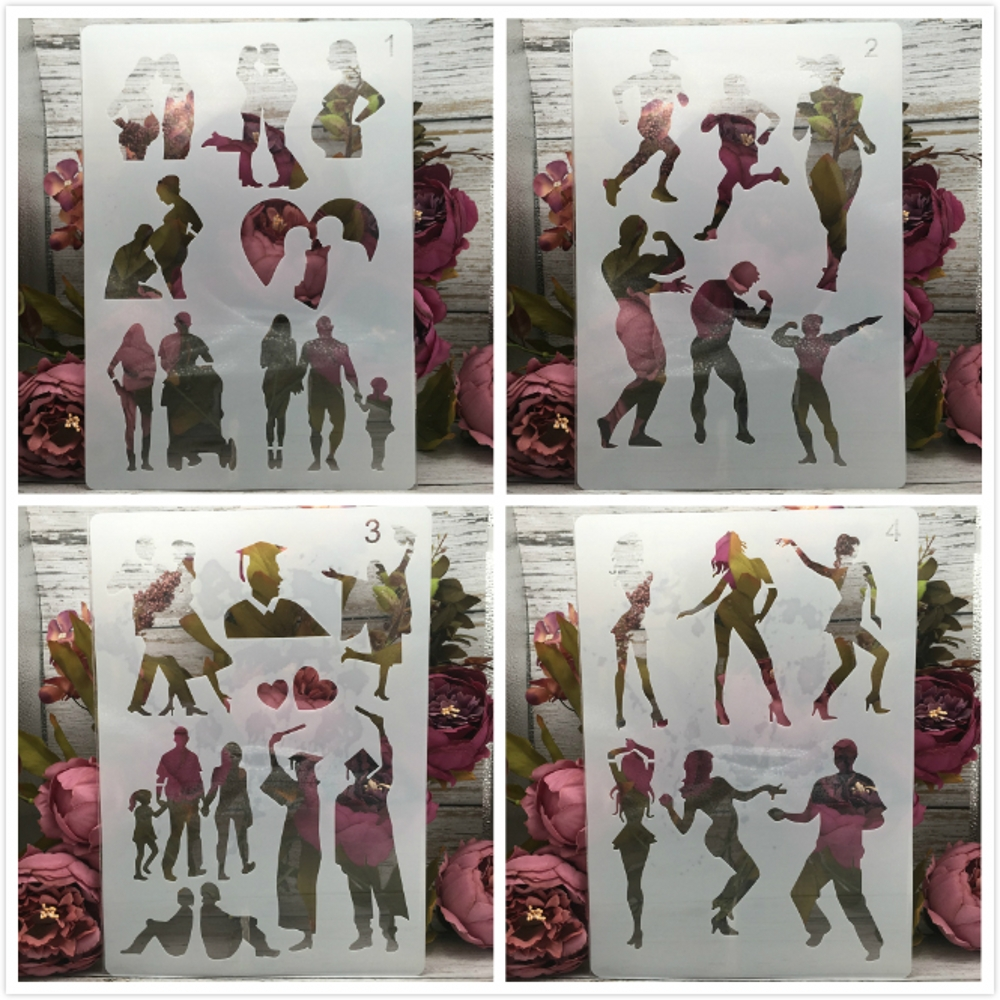 4Pcs/Set A4 29cm Couple Gym Dance Graduation DIY Layering Stencils Painting Scrapbook Coloring Embossing Decorative Template