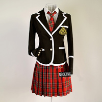 British academism Girl`s female performance wear suits Fashion slim black or blue school uniforms