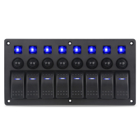 On Off 5pin 8 Gang Marine Car Panel Switch With Breakers Waterproof Led Boat Switch Panels 12v Ac 125V/10A 12V/20A 24V/10A