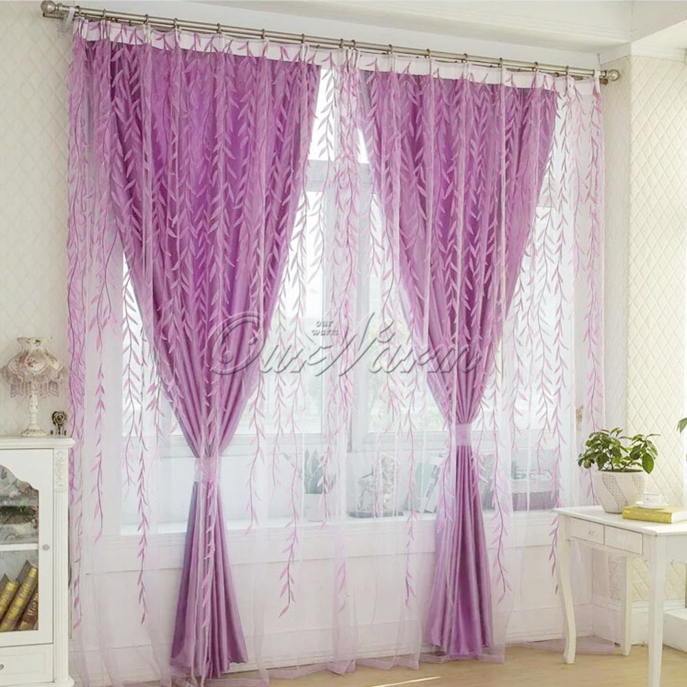 Willow Voile Curtain Blinds Sheer 100 X 200cm Tulle Window