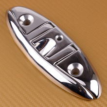 """Silver 316 Stainless Steel 6"""" Marine Stud Mount Folding Flip Up Cleat Base Hardware For Ship Yacht Boat 15.5×5.4cm"""