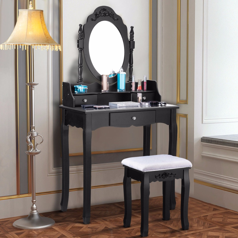 Giantex Makeup Dressing Table Stool Set Jewelry Desk 3 Drawer Mirror Black Home Furniture HW52950BK giantex wood makeup dressing table stool set jewelry desk drawer mirror black home furniture hw52951bk