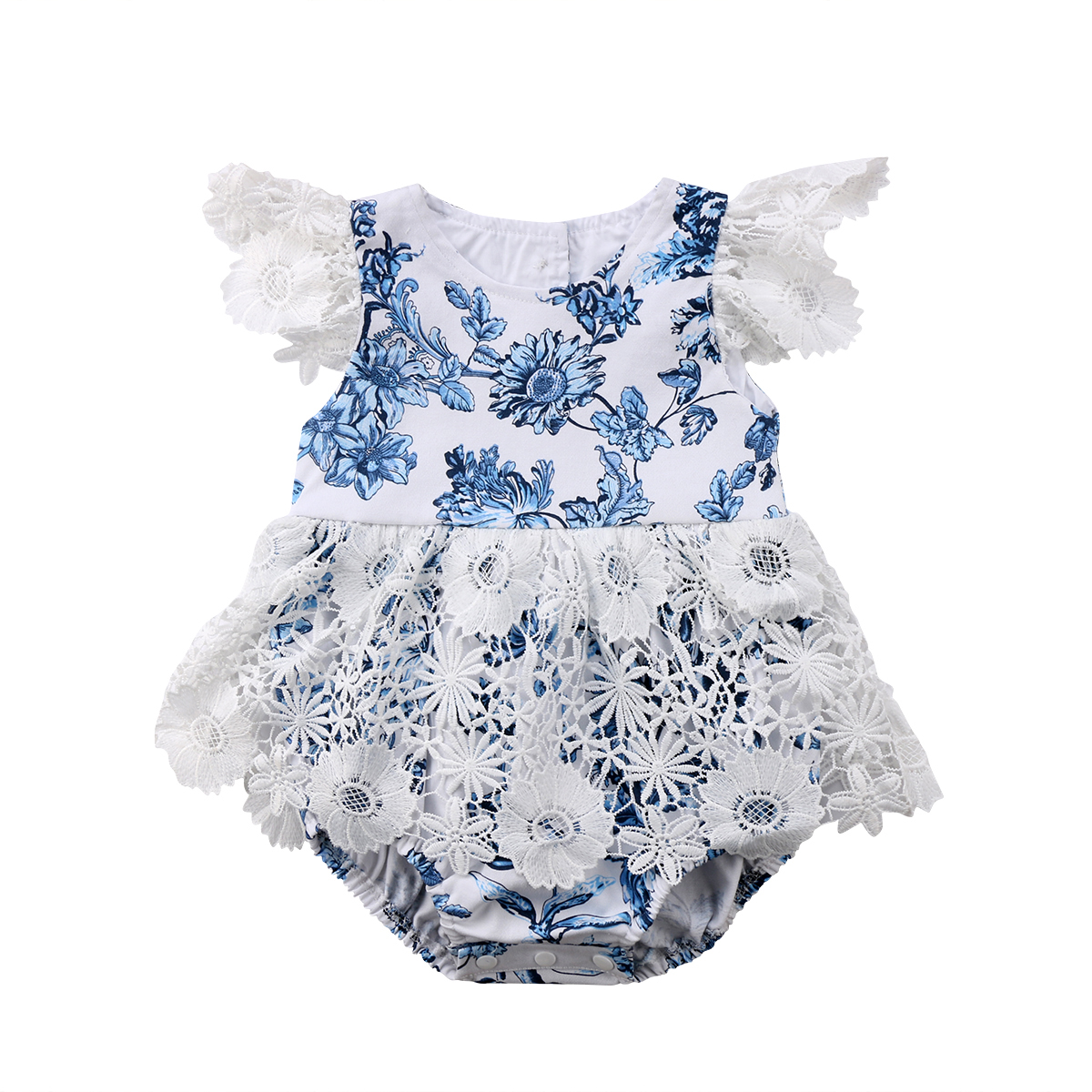 2018 Newborn Baby Girl Short Sleeve Romper Lace Floral Jumpsuit Outfit Flower Summer Clothes 0-24M