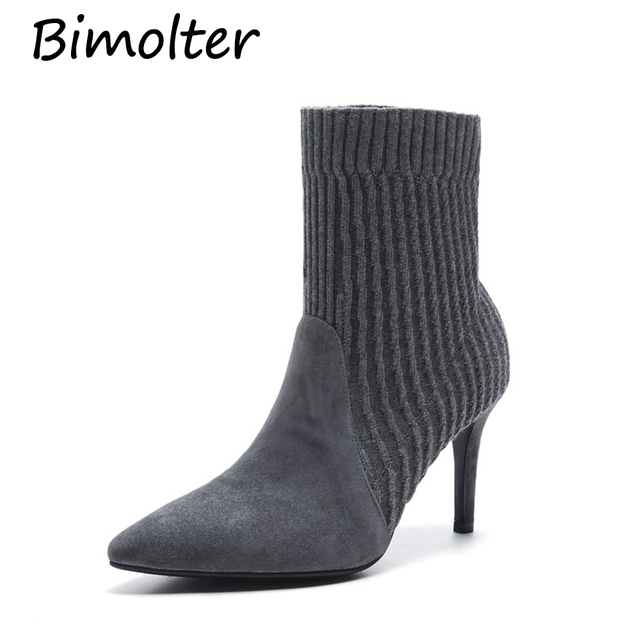 Bimolter Sheep Suede Woolen Women Shoes Slip-On Retro High Heel Ankle Boot Elegant Cusp Boots Female Pointed Toe Stiletto NA010
