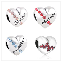 FirstQueen 925 Sterling Silver Family Sister Mother Daughter Bead Charm With Austria Crysttal Fit Brand Bracelets