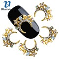 10 Pcs 3D Glitter Colorido Liga de Ouro Hoop Cabelo Coroa Projeto Adesivos AB Pedrinhas Para Nail Art Manicure Decorações TN2097