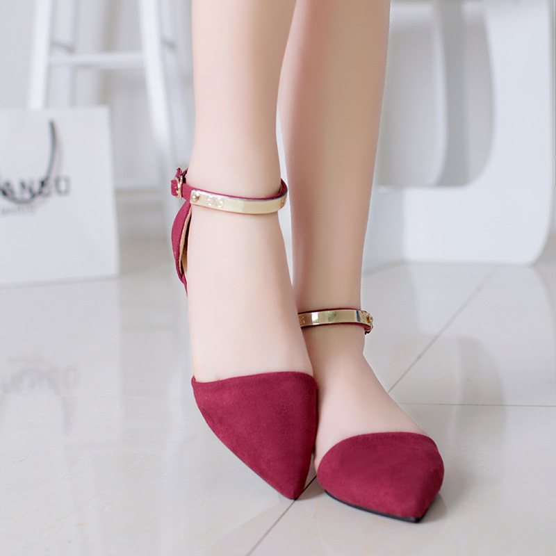 2017 Summer Flat Shoes Roman Sandals  Metal Buckle  Women Flats Fashion Pointed Toe Women Black Red Blue Sequined 35-39 3 colors 2017 new arrival hot sale fashion summer sweet women flats heel sandals casual buckle strap roman sandals flat flat women shoes