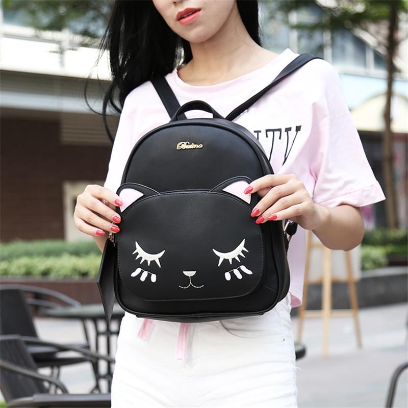 ACE LOVE women black cat rucksack cute shoulder composite bag hotsale lady purse shopping bags preppy style student packpack 3