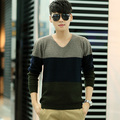 men spring cashmere sweater pullover short V-neck design stripe sweater basic shirt sweater